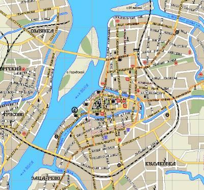 Карта центральной части города Астрахань. астрахань схема, астрахань улица, астрахань музей, астрахань галерея...